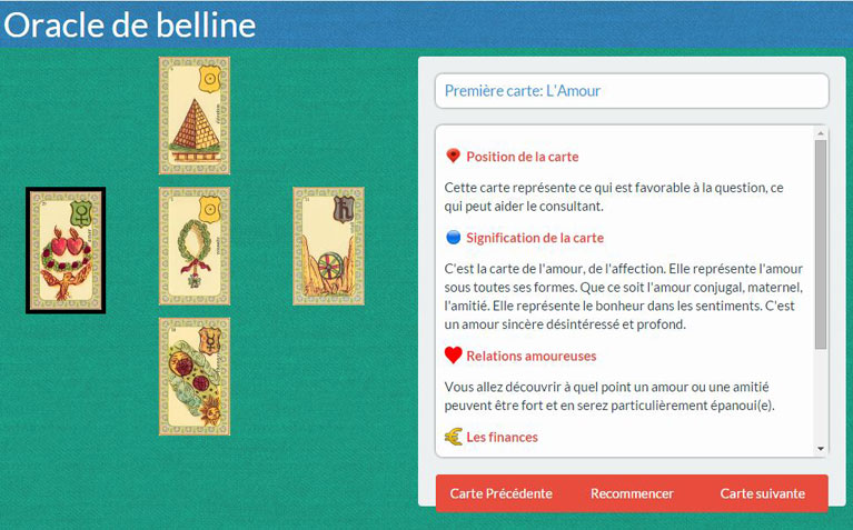 Tirage de l'oracle de belline